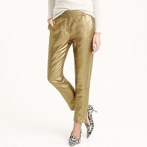 J. Crew Women's Ludlow Pant in Gold Linen Size 6